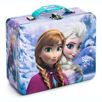 Disney Frozen Elsa & Anna Embossed Tin Metal Lunchbox Lunch Box Carry Gift Bag