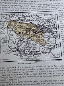 Map Renfrewshire 1923 Print 97 Years Renfrew Shire River Cart Cathcart Castle D