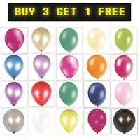 "Latex 10"" Plain Helium Balloons Birthday Wedding Christening Party 25/50/100pcs"