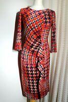 PER UNA Women's Dress Red Mix Printed Wiggle Ruched Flattering Ruffle Size 14