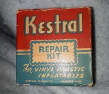 """RARE AMERICAN (MASS.) """"KESTRAL VINYL PLASTIC REPAIR KIT"""" CARDBOARD BOX- CONTENTS"""