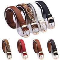 ALS_ Women's Fashion Paint Waist Belt Faux Leather Alloy Buckle Waistband Strap
