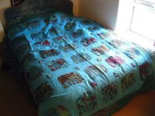 Indian kantha couvre-lit couette blue elephant tapestry throw broderie double