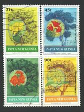 PAPUA NEW GUINEA 794-97 SG675-78 Used 1992 Flowering Trees set of 4 Cat$9