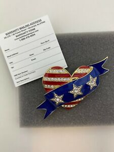 Heidi Daus Dedicated Dazzle Patriotic Heart Pin NEW IN BOX Warranty Card  **READ