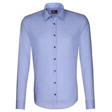 Seidensticker Hemd UNO Super Slim Stretch blau / weiß kariert Gr. 44 / 573230.16