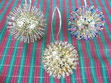 LOT OF 3 HANDCRAFTED CHRISTMAS ORNAMENTS - PIN & BEAD CHRISTMAS ORNAMENTS