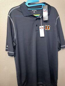 NFL Cincinnati Bengals Antigua Dri Fit Cool Lightweight Polo Golf Mens Large NWT