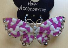 A violet et blanc émaillé et métal diamanté papillon Barrette à cheveux