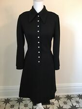 Vintage 60s BUTTE KNIT Black Wool Bl. Dress Rhinestone Buttons Pointy Collar Sm