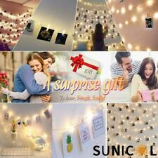 20/50/100 LED Clip Peg String Lights Hanging Picture Battery Fairy Party Home De