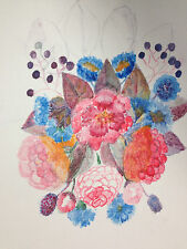 """Vintage Art Sketch of Beautiful Colorful Exotic Flowers 12"""" X 16"""""""