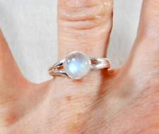 Rainbow Moonstone Petite Cabochon Round Ring 925 Sterling Silver Size 9