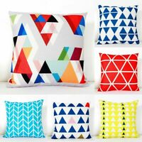 Cotton Linen Geometric Pattern Pillow Case Waist Cover Home Decor Cushion Cover