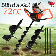 72cc 4hp Gas Powered Post Hole Digger Power Engine With 4 8 12 3bits Us