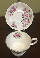 Royal Albert Pink Roses Footed Cup and Saucer #ROA100