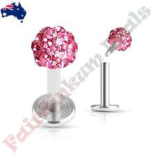 Pink Ferido Crystal Top 316L Surgical Steal Internal Thread Labret Monroe