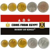 SET OF 5 COINS FROM EGYPT: 1, 2, 5, 10, 20 PIASTRES. OLD EGYPTIAN MONEY 1984