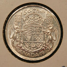 1940 Canada Silver 50 Cents, lustrous high grade King George VI coin.