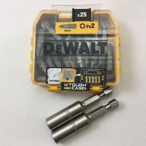 DEWALT PZ2 25mm tough case 25pc DT71521-QZ + 2 X DEWALT 60mm magnetic bit holder