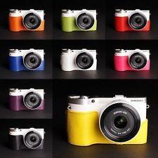 Fatto A Mano Vera Pelle Mezza Custodia Fotocamera Borsa Custodia per Samsung NX300 10 COLORI