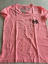 New XS PINK VICTORIA SECRET HOT PINK BLACK LETTERS SHORT SLEEVE V NECK.