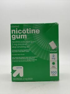 Up & Up Coated Nicotine 2mg Gum Stop Smoking Aid - Mint - 100ct Exp 2023