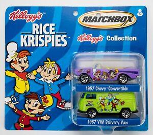 2002 Matchbox Kellogg's Rice Krispies 1957 Chevy PURPLE / 1967 VW Van GREEN