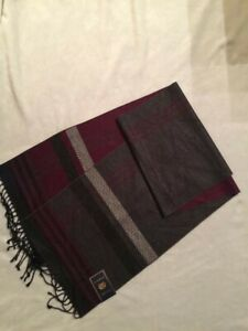 NWT Club Room Unisex Scarf Gray Maroon 100% Silk _ $75