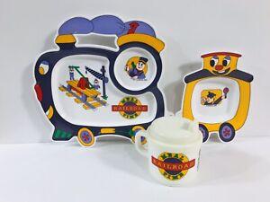 Vintage 1994 Oneida Melamine Melmac Train Plate Sippy Cup Bowl Child Dinner Set