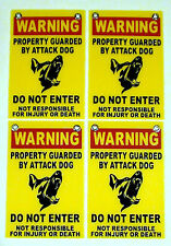 (4) WARNING Property Guarded by Attack Dog DO NOT ENTER Signs Grommets 8x12 yel