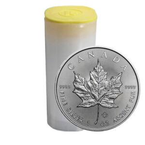 Silbermünze Maple Leaf 2021 1 oz 5 Dollar Kanada in Stempelglanz 25er Tube