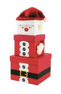 3 Santa Gift Box Stackable Nested Storage Decoration Kids Present Party