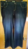 Women's Paris Blues Denim Dark Wash Flare Jeans Flap Pockets Size 23
