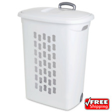 3-Pack Wheeled Laundry Hamper With Handle White Washing Basket Clothes Storage