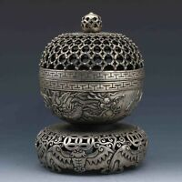 China Feng Shui Tibet Silver hand made Dragon hollow out Incense Burners Censer