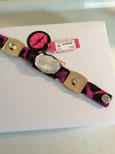 Betsey Johnson Runway Collection Leopard  Rhinestone Snap Bracelet $55 w36