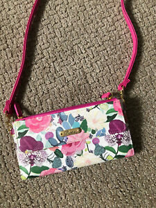 Buxton Ultimate Organizer Crossbody Wallet RFID Reader Shield Floral Denim - NWT