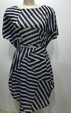 H&M Striped Blue/white Beach Cover Up Short Sleeve Women Dress Sz Small