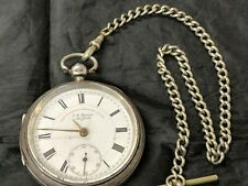 ANTIQUE J.G.GRAVES SOLID SILVER WHITE DIAL LEVER ENGLISH POCKET WATCH1904chester