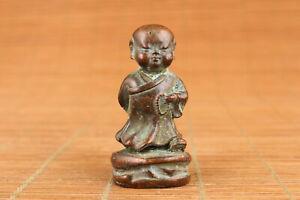 tibet Chinese bronze handmade monk buddha statue collectable tea pet jewel gift