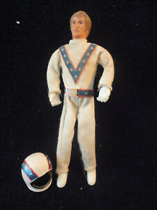 Vintage Original Evel Knievel Evil Action Figure Stunt Cycle Doll Toy w/ helmet