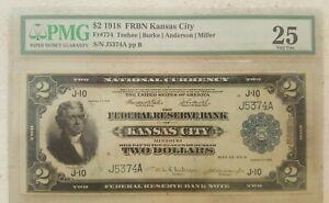 ⭐BATTLESHIP NOTE⭐ 1918 $2 National Currency Kansas City Missouri FR-774 ~ PMG 25