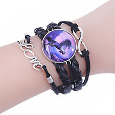 Unicorn Love Adjustable Black Leather Cord Lobster Claw Clasp Silver Bracelet