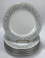 Set of 6 Crown Ming Fine China Princess Pattern Blue Floral Dinner Plates AA