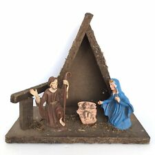 Vintage Nativity Scene Wooden Plastic Made In Italy Mary Joseph Baby Jesus