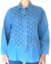 GW Division of Graff Women's L Button Down Shirt Vintage Smocked Front Chambray