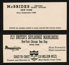 OPC Vintage McBrides Ticket Env. With United Skylounge Advertising on back