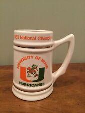 University of Miami Hurricanes 1983 National Champions Stein Mug