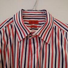"PIERRE CARDIN Mens Red/Navy/White Striped Short Sleeve Shirt 16.5"""